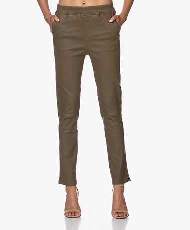 Repeat Luxury Leather Pull-on Pants - Green
