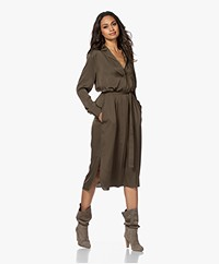 Repeat Silk Blend Shirt Dress with Optional Tie Belt - Khaki