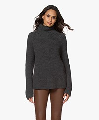 Drykorn Arwen Rib Knit Turtleneck Sweater - Dark Grey Melange