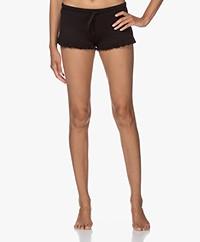 Skin Raffaela Rib Jersey Short met Ruches - Zwart