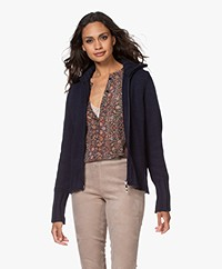 LaSalle Merino Wool Blend 2-way Zip Cardigan - Navy