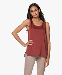 Repeat Sleeveless Silk Blend Top - Terracotta
