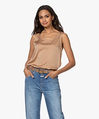 Repeat Sleeveless Silk Stretch Top - Camel