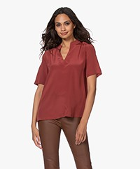 Repeat Silk Short Sleeve Blouse - Terracotta