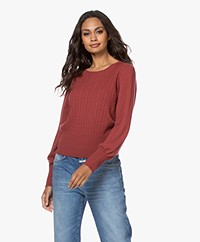Repeat Cashmere Cable Knit Sweater - Terracotta