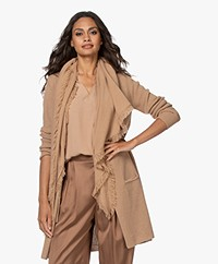 Repeat Cashmere Poncho Scarf with Fringes - Camel Brown