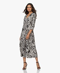 ba&sh Olga Two-tone Animal Print Midi Dress - Off-white/Black