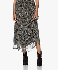 no man's land Printed Chiffon Midi Skirt - Core Black