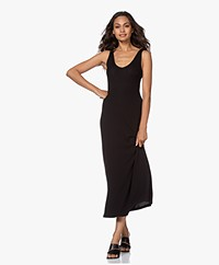 James Perse Rib Jersey V-neck Dress - Black