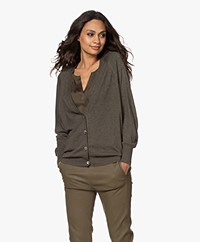 Repeat Bamboo Viscose V-neck Cardigan - Khaki