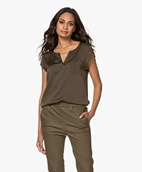 Repeat Silk Cap Sleeve Blouse - Khaki