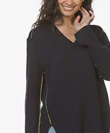 Joseph V-neck Sweater from Pure Cashmere - Navy