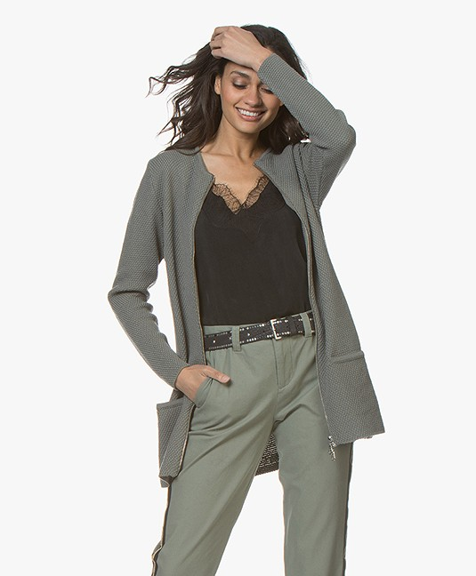 Sibin/Linnebjerg Futani Knitted Zip Cardigan - Khaki