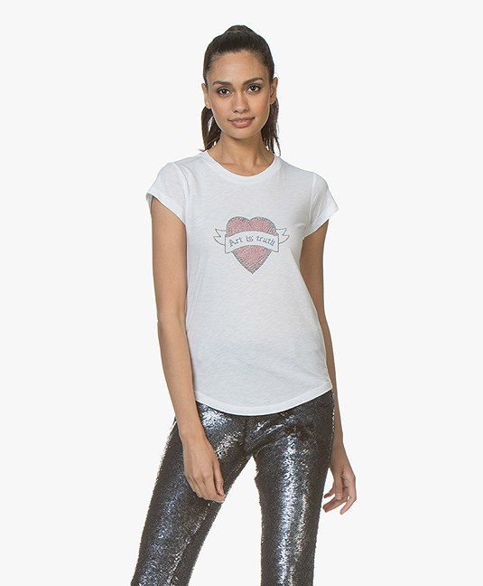 Zadig & Voltaire Skinny Strass T-shirt - Wit
