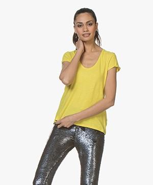 Drykorn Avivi Slub Jersey T-shirt - Geel