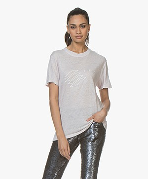 IRO Lucie Linnen Print T-shirt - Zachtroze