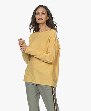 Repeat Cashmere Boothals Trui - Sunflower