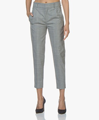 Drykorn Now Checkered Pants - Grey/Light Blue