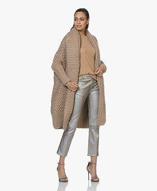 I Love Mr Mittens Pearl Stitch Open Cardigan - Taupe