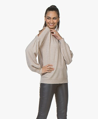 Repeat Open-shoulder Trui van Cashmere - Lichtbeige