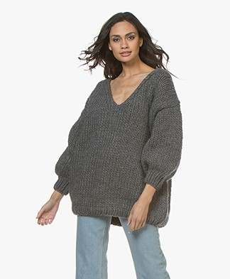 I Love Mr Mittens Oversized V-Neck Sweater - Charcoal