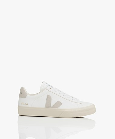 VEJA Campo Low Logo Leren Sneakers - Wit/Natural