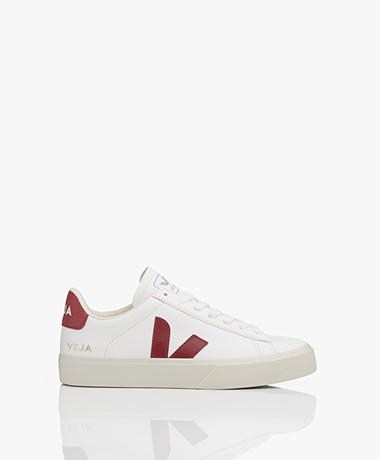 VEJA Campo Low Logo Leather Sneakers - White/Marsala