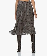 ba&sh Printed pleated Midi Skirt - Black