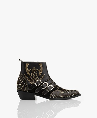 Anine Bing Penny Boots - Black/Gold