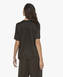 forte_forte Crepe Satin Short Sleeve Blouse - Black