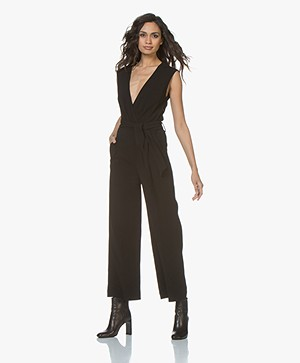 IRO Crew Crepe Jumpsuit with Deep V-Neck - Black