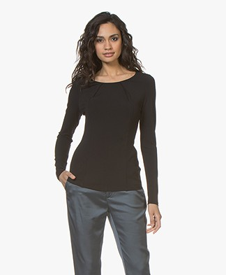 no man's land Crepe Long Sleeve with Pleated Details - Black