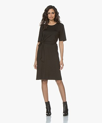 Filippa K Tie Waist Pleat Dress - Black