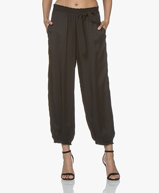 forte_forte Loose-fit Satin Pants - Black