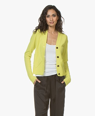 Joseph V-neck Cardigan in Cashmere - Chartreuse