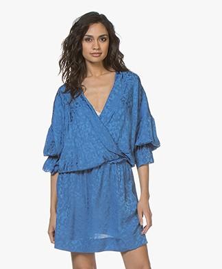 Zadig & Voltaire Riri Jacquard Leopard Silk Dress - Bleu Marguerite
