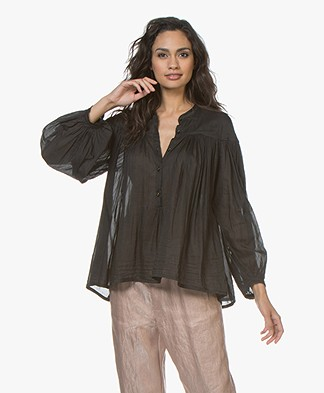 forte_forte Silk Blend Pleated A-line Blouse - Black