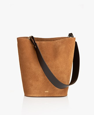 Closed Suede Bucket Bag - Amber