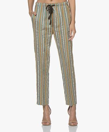 forte_forte Striped Lurex Pants - Peacock Multi