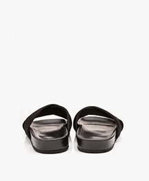 Filippa K Nadia Suede Leather Slipper Sandals - Black
