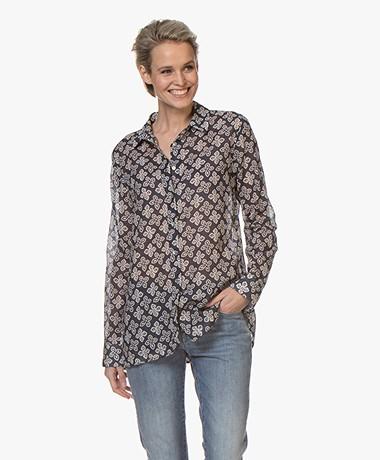 Belluna Smile Voile Floral Print Shirt - Blue/Sand