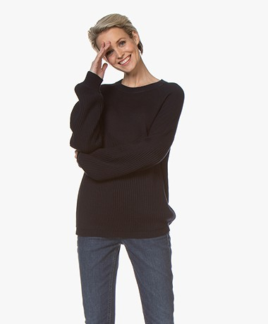 Repeat Cotton Puff Sleeve Sweater - Navy