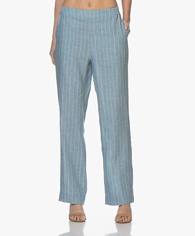 Josephine & Co Benjamin Linen Pinstripe Pants - Sky Blue