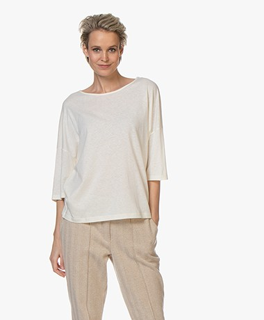 ba&sh Sabel T-shirt with Keyhole Detail - Off-white