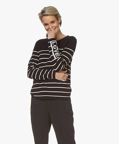 Repeat Striped Cotton Blend Sweater - Navy/Cream