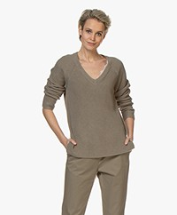 Repeat V-neck Cotton Rib Sweater - Khaki