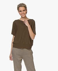 Drykorn Someli Short Sleeve Cotton Sweater - Army