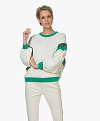 ba&sh Maurry French Terry Sweatshirt - Off-white/Green