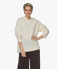 Filippa K Laurel Alpaca Blend V-neck Sweater - Off-white