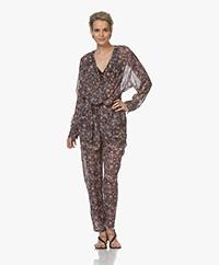 IRO Poincia Printed Chiffon Jumpsuit - Black/Pink
